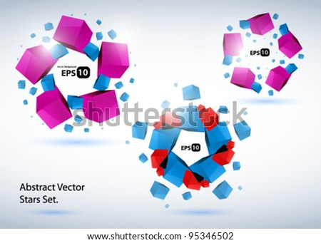 Abstract vector cubic stars - stock vector
