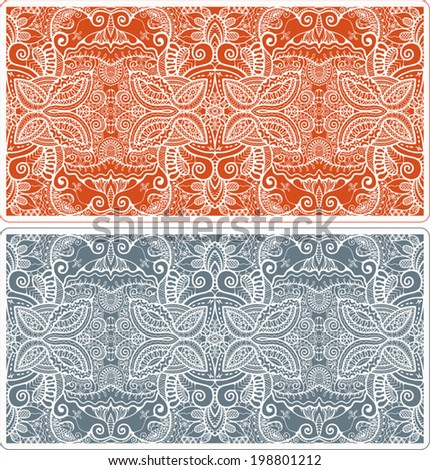 Abstract vector decorative ethnic ornamental backgrounds, border lace patterns set. Series of image template frame design for card, hand drawn artwork - stock vector