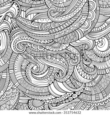 Abstract vector decorative hand drawn vintage ethnic sketchy seamless pattern. Can be used for wallpaper, pattern fills, web page background, surface textures - stock vector