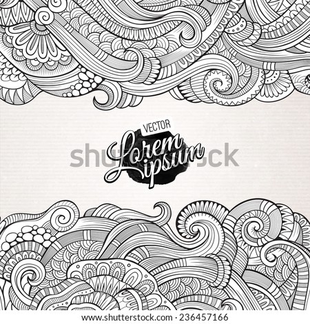 Abstract vector decorative nature background. Template frame design for card. - stock vector
