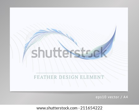 Abstract vector design composition element. For leaflet / brochure cover or web layout with two-colored soft curved feather ornament illustration. A4, eps10.  - stock vector