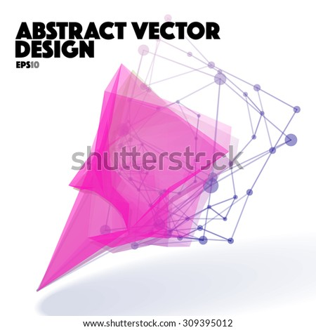 Abstract Vector Design Element. Connection Lines with Dots - stock vector