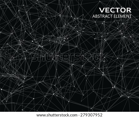 Abstract vector digital background with white geometric particles - stock vector