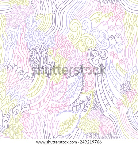 Abstract vector doodle pattern with ornament. Seamless background with ethnic and sea motifs. Repeating multicolor floral backdrop. - stock vector