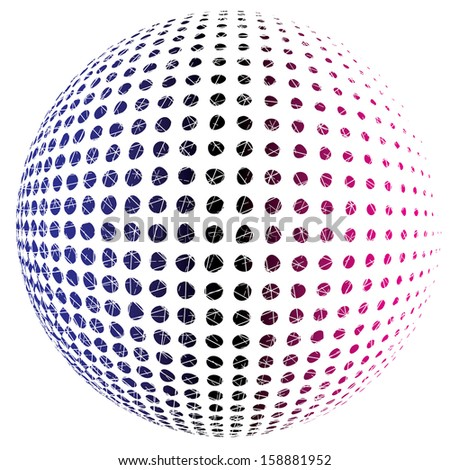 Abstract vector dotted sphere.