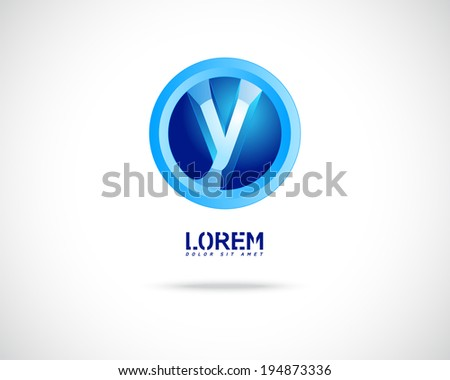 Abstract Vector Emblem Design Template. Creative Blue Concept Icon. Combination of Letter Y - stock vector