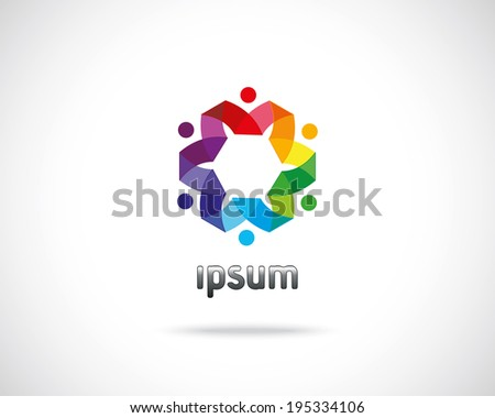Abstract Vector Emblem Design Template. Creative Circle of People Icon