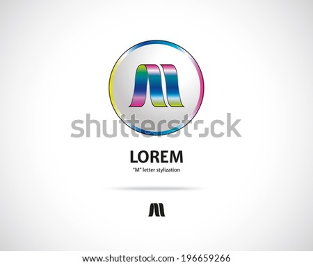 Abstract Vector Emblem Design Template. Creative Round Concept Icon. Combination of Letter M - stock vector