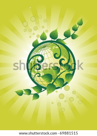 abstract vector environmental background with globe cover with floral