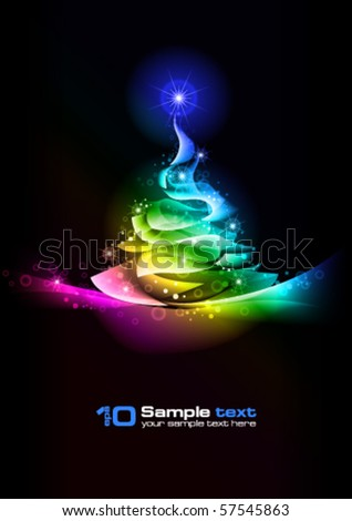 Abstract vector eps10 glowing background. Christmas tree. - stock vector