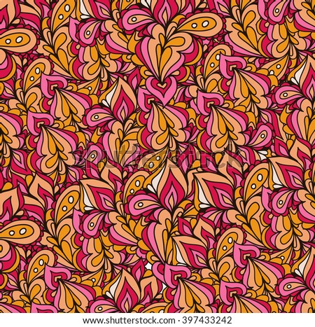 Abstract vector eps10 hand-drawn waves pattern, wavy floral background