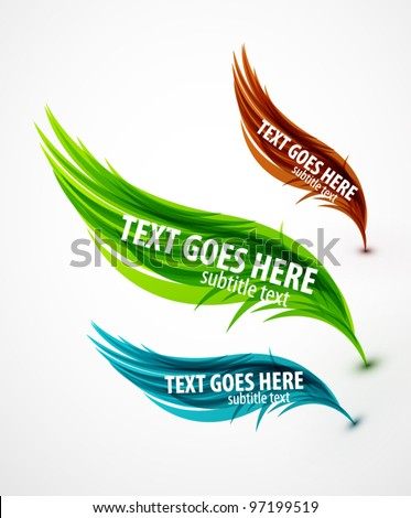 Abstract vector eps10 lines feather design set for your message - stock vector