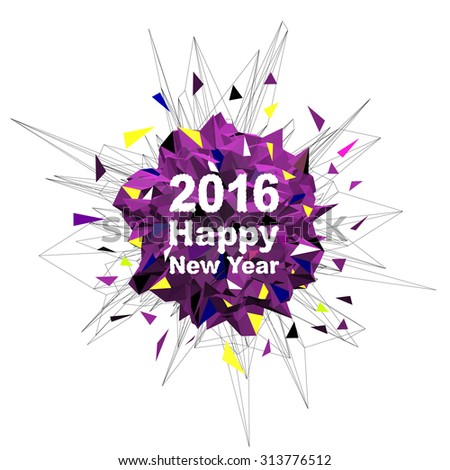 """Abstract vector explosion with inscription """"2016 Happy New Year"""". Christmas illustration - stock vector"""