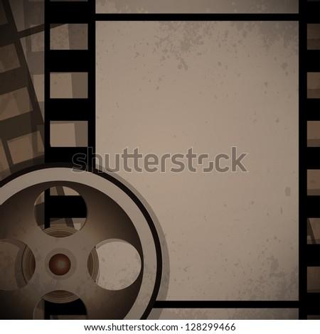 abstract vector film reel concept retro design - stock vector