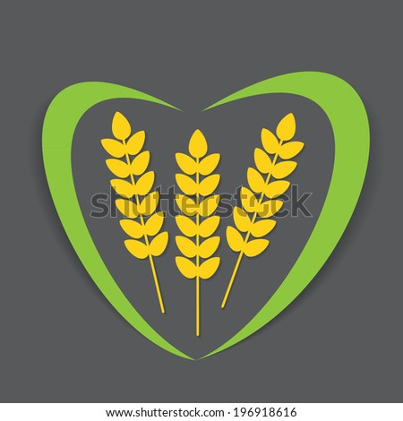 Abstract vector flat wheat ears on isolated black background with a decorative line in the shape of heart. Healthy eating symbol for your design. - stock vector