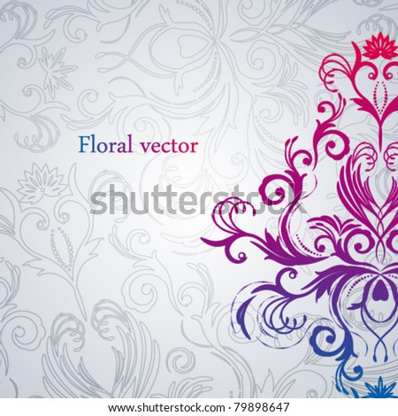 Abstract vector floral background with east flowers. - stock vector