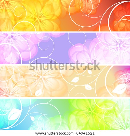 abstract vector floral banners set. Eps10 - stock vector