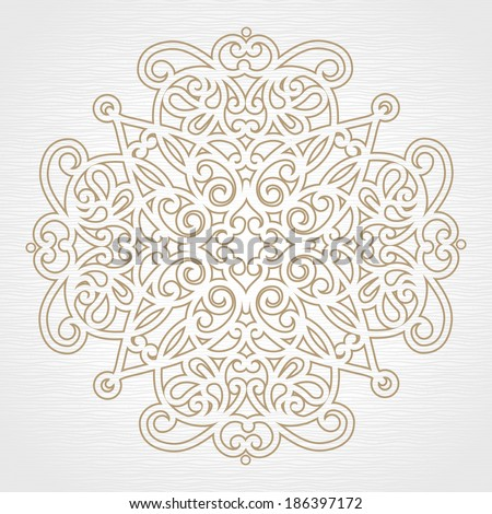 Abstract vector floral ornament. Lace pattern design. Grey ornament on light background. Floral decorative element. Mandala. Ornate backdrop for your design. - stock vector