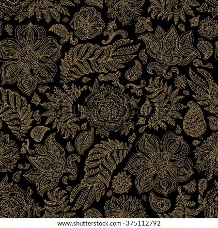 Abstract vector floral seamless pattern. Exotic Paisley elements, fantastic flower, leaves. Light beige gold wire contour line. Fairy foliage on black background. Textile bohemian  print. Batik paint - stock vector