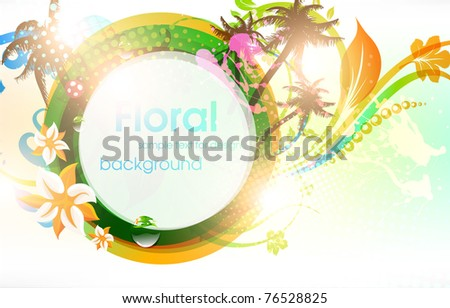 Abstract vector floral summer background with flowers, sun, palms and ladybird. eps 10. - stock vector