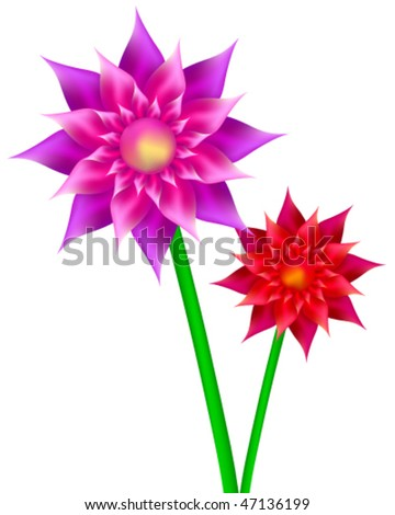 Abstract vector flowers. - stock vector