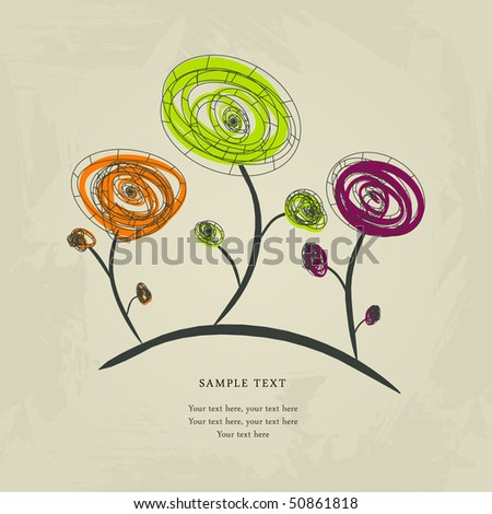 Abstract vector flowers - stock vector