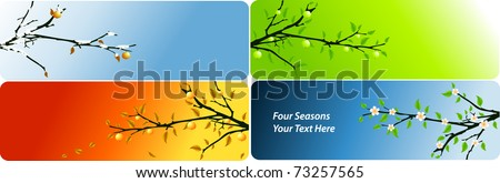 abstract vector four seasons banners with apple brunch - stock vector