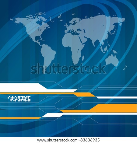 abstract vector frame with map and copy space. Eps10 - stock vector
