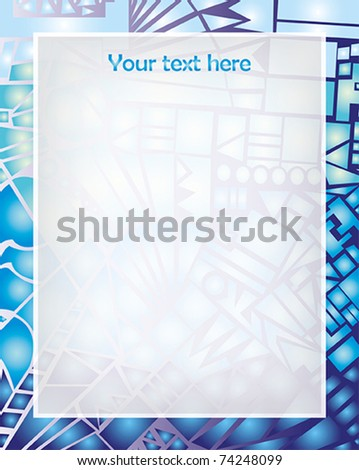 Abstract vector frame with ornament details blue broken glass - stock vector