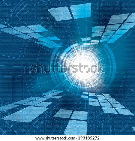 Abstract vector futuristic blue bright background illustration  - stock vector