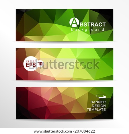 Abstract vector geometric background. Banner template set.