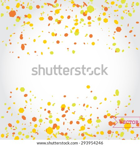 Abstract vector geometric background with confetti. Hexagon mosaic confetti. - stock vector