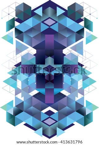 Abstract vector geometric pattern. Modern design: web pages, flyers. Symmetrical - stock vector