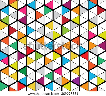 Abstract vector geometric seamless pattern of mosaic hexagons and triangles inspired by stained glass - stock vector
