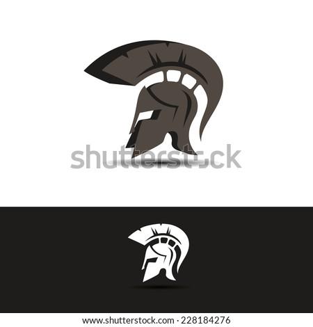 abstract vector greek helmet icon idea concept for the logo - stock vector