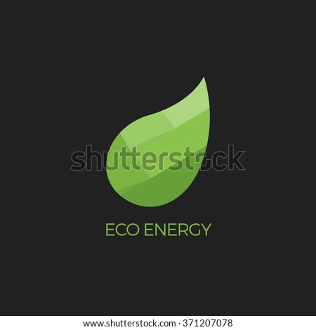 Abstract Vector Green Leaf Logo Design Template Eco Energy Symbol Paper Origami