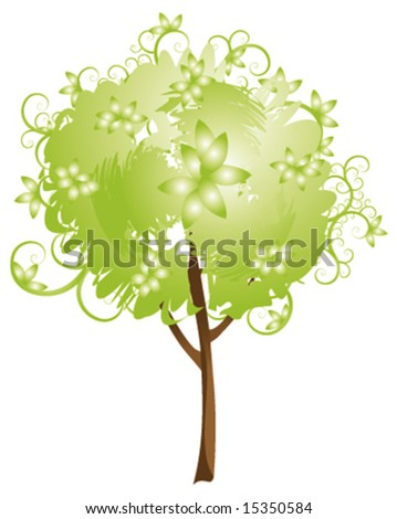 Abstract vector green tree with leaves