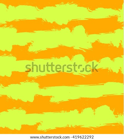 Abstract VECTOR grunge background with orange and yellow stripes. Seamless pattern, pastel colors. - stock vector
