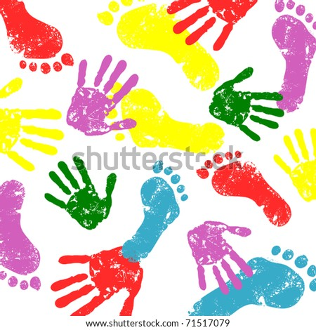 abstract vector hand and foot prints background - stock vector