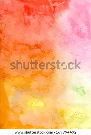 Abstract vector hand-drawn watercolor background. Colourful template. There is blank place for your text. EPS 8. - stock vector