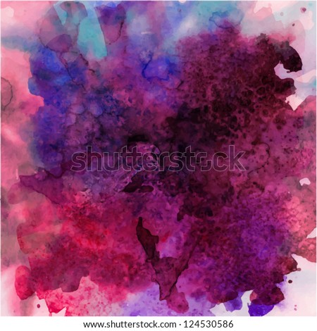 abstract vector hand drawn watercolor background, stain watercolors colors wet on wet paper - stock vector