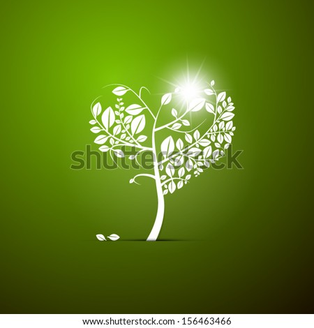 Abstract Vector Heart-Shaped Tree on Green Background - stock vector