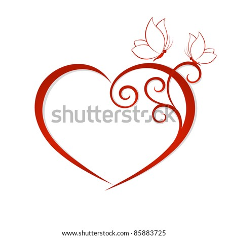 Abstract vector heart with butterflies. Element for design. - stock vector