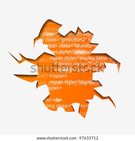 Abstract Vector Hole with Program Text - eps10 - stock vector