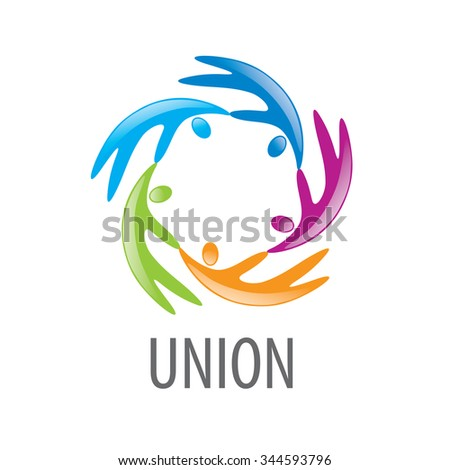 Abstract vector icon colored people in the Union
