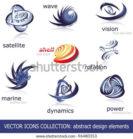 Abstract vector icons set - stock vector