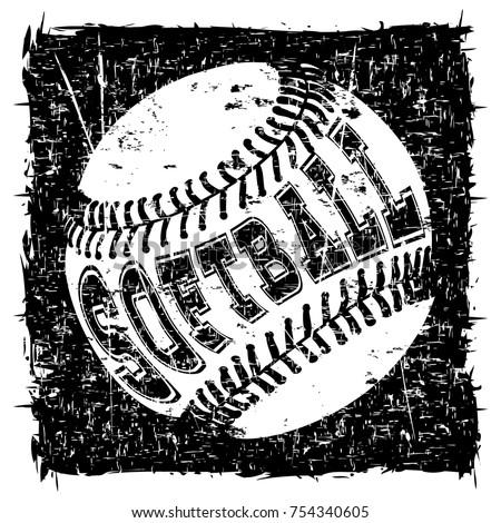 Abstract vector illustration black and white baseball ball on grunge background inscription softball design