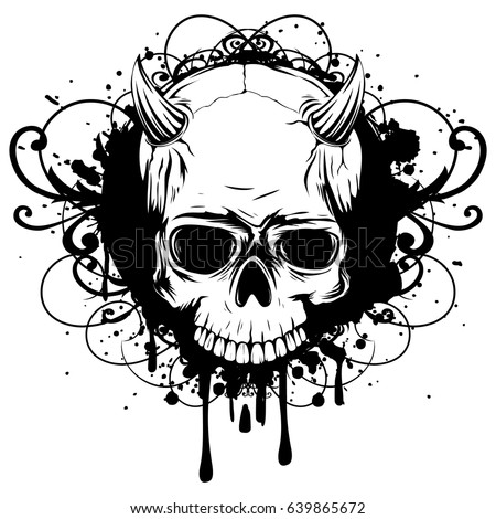 Abstract vector illustration black and white skull demon with horns on grunge patterns design for