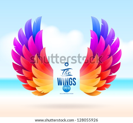 Abstract vector illustration - colorful wings on a tropical sea shore - stock vector