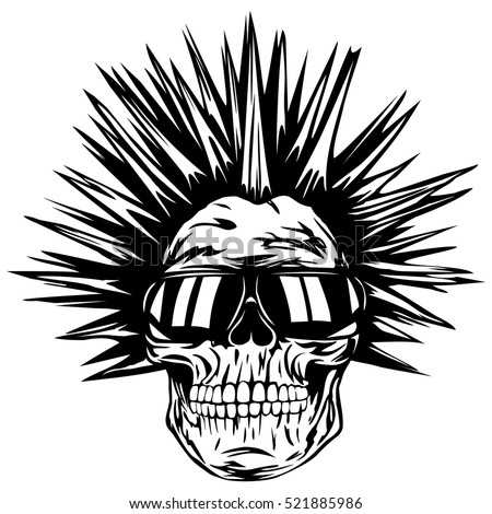 Abstract vector illustration grunge skull punk with sunglasses for tattoo or t-shirt design